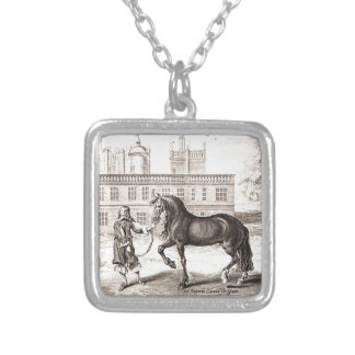 Andalusian Horse Vintage Drawing Art Necklace