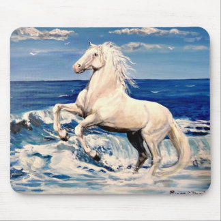 Andalusian horse, white stallion mouse pad