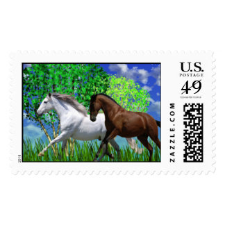 ANDALUSIAN HORSES RUNNING Postage Stamps
