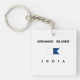 Andaman Islands India Alpha Dive Flag Double-Sided Square Acrylic Keychain