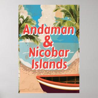 Andaman y poster de las vacaciones del vintage de