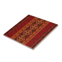 Andean Inspired Rust Red Pattern Ceramic Tile