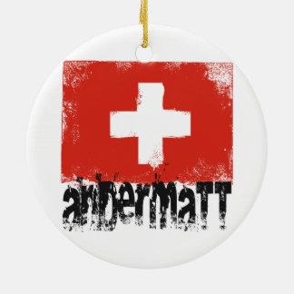 Andermatt Grunge Flag Ceramic Ornament