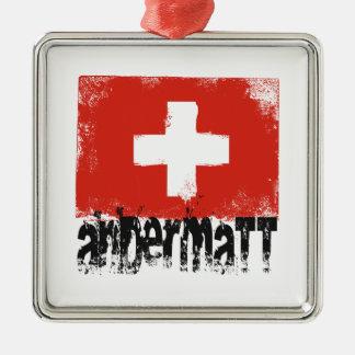 Andermatt Grunge Flag Metal Ornament