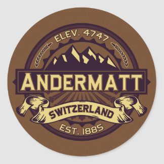 Andermatt Logo Sepia Round Stickers
