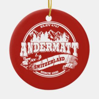Andermatt Old Circle Red Ceramic Ornament