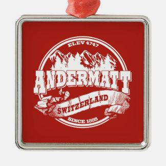 Andermatt Old Circle Red Metal Ornament