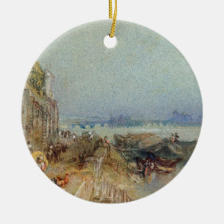 Andernach, 1817 (w/c with pen and black ink on wov ceramic ornament