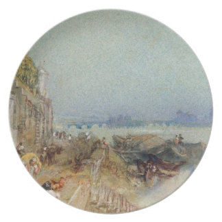 Andernach, 1817 (w/c with pen and black ink on wov dinner plate