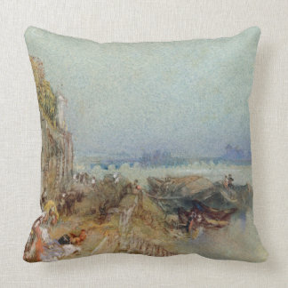 Andernach, 1817 (w/c with pen and black ink on wov throw pillow