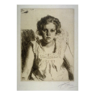 anders zorn, portrait of a girl, etching poster