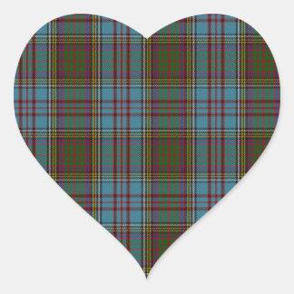 Anderson Clan Family Tartan Heart Sticker