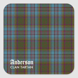 Anderson Clan Family Tartan (with Name) Square Sticker