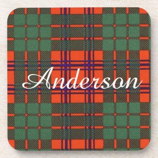 Anderson clan Plaid Scottish tartan Coasters