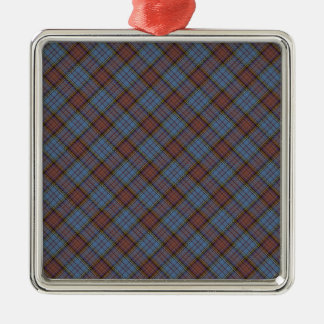 Anderson Clan Tartan Designed Print Square Metal Christmas Ornament