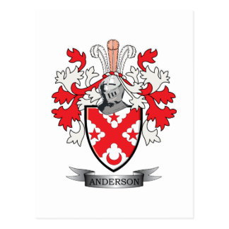 Anderson Family Crest Coat of Arms Postcard