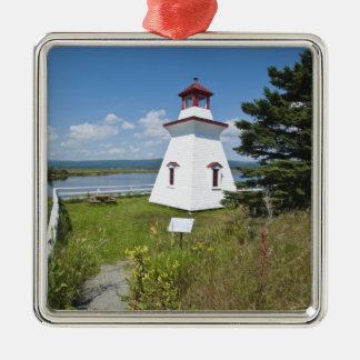 Anderson Hallow Lighthouse in Riverside-Albert, Square Metal Christmas Ornament