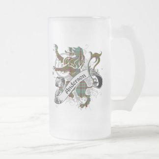 Anderson Tartan Lion Frosted Glass Beer Mug
