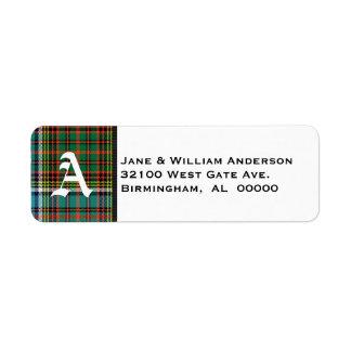 Anderson Tartan Plaid Monogram Address Labels