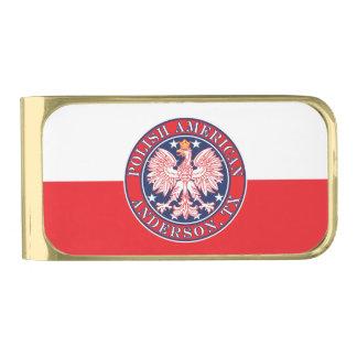 Anderson Texas Polish American Eagle Gold Finish Money Clip
