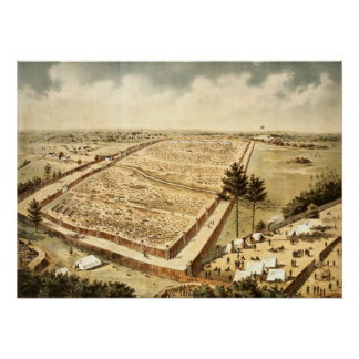 Andersonville Prison (Camp Sumter), aerial view Poster