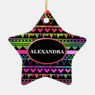 Andes Aztec Tribal Native Geometric Tie Die Neon Ceramic Ornament