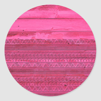 Andes Hot Pink Abstract Aztec Tribal Carved Wood Sticker