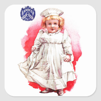 Andes Stoves Baby Victorian Vintage Trade Card Art Square Sticker
