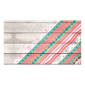 Andes Tribal Aztec Coral Teal Chevron Wood Pattern Business Card
