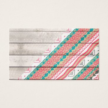 Aztec Themed Andes Tribal Aztec Coral Teal Chevron Wood Pattern Business Card