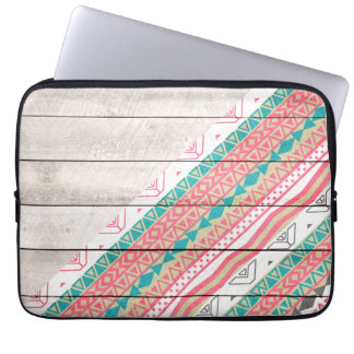 Andes Tribal Aztec Coral Teal Chevron Wood Pattern Laptop Sleeves