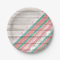 Andes Tribal Aztec Coral Teal Chevron Wood Pattern Paper Plate