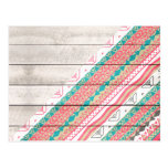 Andes Tribal Aztec Coral Teal Chevron Wood Pattern Post Card