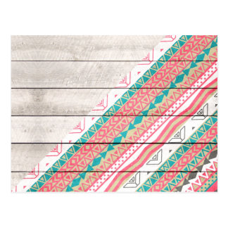 Andes Tribal Aztec Coral Teal Chevron Wood Pattern Postcard
