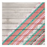 Andes Tribal Aztec Coral Teal Chevron Wood Pattern Poster