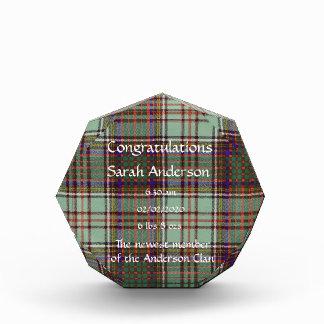 Andison clan Plaid Scottish kilt tartan Acrylic Award