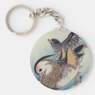 Ando Hiroshige Mandarin Ducks Color Woodcut Basic Round Button Keychain