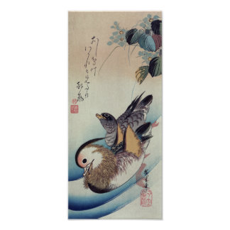Ando Hiroshige Mandarin Ducks Color Woodcut Poster