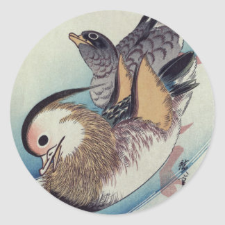 Ando Hiroshige Mandarin Ducks Color Woodcut Round Sticker