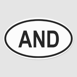 """Andorra """"AND"""" Oval Sticker"""