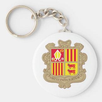 Andorra Coat of arm AD Basic Round Button Keychain