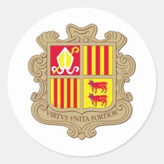 Andorra Coat of arm AD Classic Round Sticker
