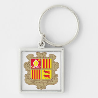 Andorra Coat of arm AD Silver-Colored Square Keychain