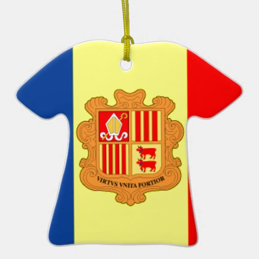Andorra Flag Double-Sided T-Shirt Ceramic Christmas Ornament