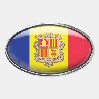 Andorra Flag Glass Oval Oval Sticker