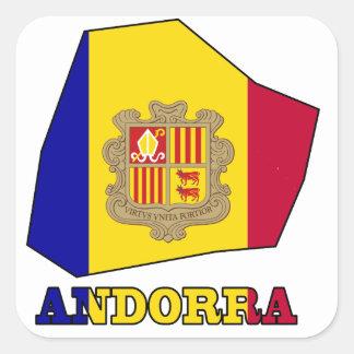 Andorra Flag in Map Square Sticker