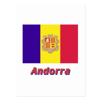 Andorra Flag with Name Postcard