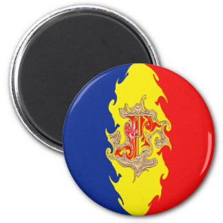 Andorra Gnarly Flag 2 Inch Round Magnet