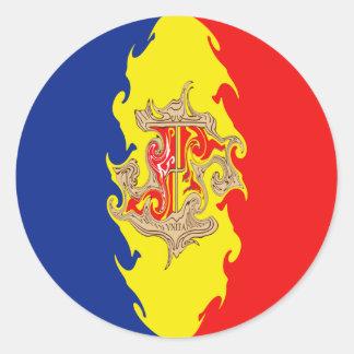 Andorra Gnarly Flag Round Sticker
