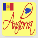Andorra Pegatina Cuadradas Personalizada